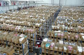 hundreds of warehouse shelves