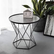 art leon small round end table modern glass top w metal frame coffee side table