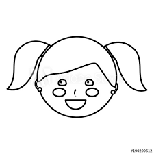Young Cute Girl Face Happy Character Vector Illustration Outline