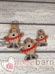 Key Cutting Designs Valentines Day Monster Key Fob Machine Embroidery Applique