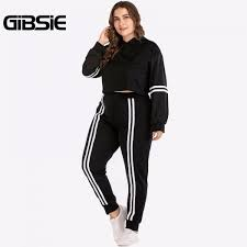 senarai harga gibsie plus size women clothing 4xl xl autumn two piece set top and pants striped tracksuit women crop top 2 piece outfits terkini di