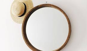 round decorative wall mirror wood barrel frame threshold target