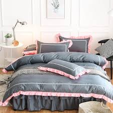 pink grey lace princess bedding sets twin queen king size girls kids duvet cover sets bed skirt soft bedclothes home textile gold bedding queen comforter