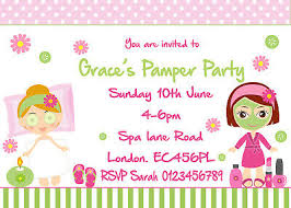 Personalised Pamper Spa Invitations Birthday Party Invites