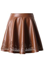 brown faux leather skater skirt with cut out detail retro in and unique fashion