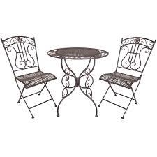 rustic metal bistro table chair set