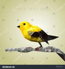 Yellow Bird Design Yellow Bird Sitting On Branch Low Stock Vector Royalty Free