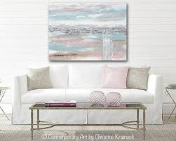 >original art abstract painting horizon landscape blue taupe pink   original art abstract painting landscape blue grey pink taupe textured minimalist large 36x48