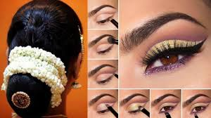 south indian bridal makeup and hairstyle tutorial simple bridal bun hairstyle makeup for reception