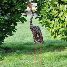 crowned crane standing garden sculpture