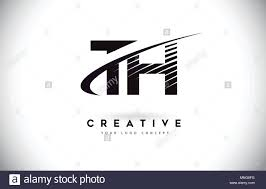 Design Th Th T H Letter Logo Design With Swoosh And Black Lines