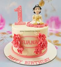 Roses Theme Customized Designer Cake With 3d Baby Girl Figurine For