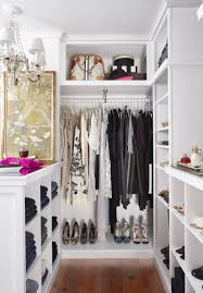 ideal interior design of small walk in closet ideas with rack and cupboard also chandelier