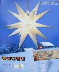 100cm Xxl Außenstern Adventsstern Rot Mit Gelben Spitzen