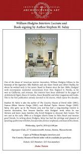 william hodgins interiors lecture and book signing by author stephen m salny