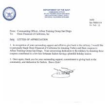 Omni Military Loans Department of Navy Letter of Appreciation