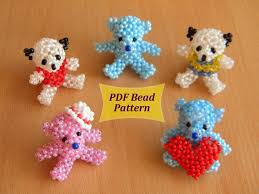 Beaded Keychain Patterns Cool Animal Pattern Pdf Beaded Bear Pdf Beaded Teddy Pdf Beaded Etsy
