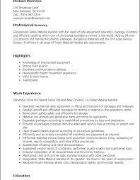 Material Handler Resume 16 Download Techtrontechnologies Com