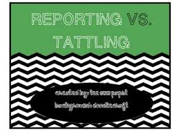 Reporting Vs Tattling Anchor Chart