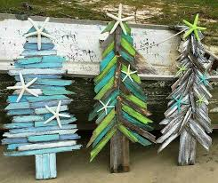 wood craft painting ideas. painted wood scraps tree with dried seastars. use mini or larger depending craft painting ideas