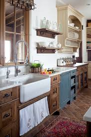 farmhouse-kitchen country rustic sink Saltillo tile in a running bond  application touch free faucet