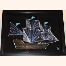 Pirate Ship - Nail and String Art | Aniika