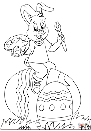 Easter Bunny Painting Easter Eggs coloring page | Free Printable ...