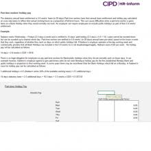 Time And Pay Calculator Calculating Part Time Holiday Pay Cipd Hr Inform