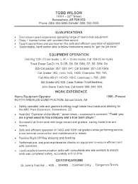 Equipment Operator Resume Sample
