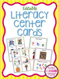 Literacy Center Pocket Chart Cards Editable Literacy