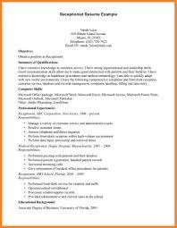 Sample Resume For Receptionist Bio Resume Samples