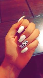 White Coffin Acrylic Nails With Design Fresh Pin Od Pouå¾vateä¾a