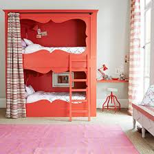 Girlu0027s Bedroom With Red Bunk Bed