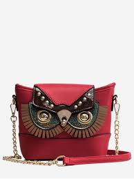pu leather owl shape cross bag red dirt