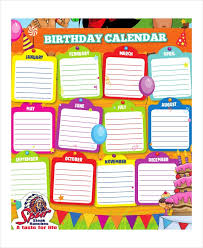 Birthday Reminder Chart Yearly Birthday Calendar Printable Monthly Free Reminder Chart