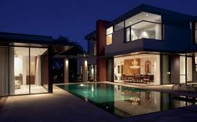 french house lighting. House Exterior With Outdoor Pool At Night French Lighting