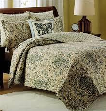 Tahari Home Cotton 3 Piece King Quilt Set Reversible Stripes Gray ... & Cynthia Rowley Bedspread 3pcs Full/Queen Cotton Quilt Set Reversible Dusty  Blue Green Beige Sage Adamdwight.com