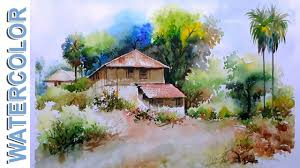 watercolor painting village mud house scenery tutorial by nihar debnath