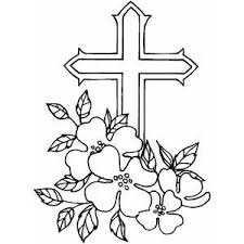 Cross And Flowers Coloring Page
