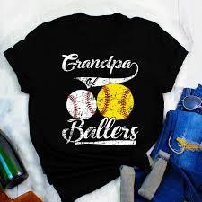 Grandpa Of Ballers Shirt Baseball Softball Gift From Kids T Shirt Dad Of Ballers Funny Baseball Softball Gift Cute Fatherhood Dad Son Gift