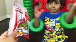 ryan plays giant life size connect four game learn colors marvel chocolate avenger egg surprise toys