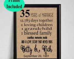 35 years of marriage etsy Wedding Anniversary Gifts For Parents 35 Years 35 year wedding anniversary 35th anniversary gift 35 years of marriage 35th anniversary Best Anniversary Gift for Parents
