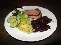 little tree cafe honey glazed pork ham with beetle root and potato salad