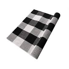 ukeler buffalo checd kitchen runner rug 100 cotton washable porch rugs door mat hand woven checd plaid rug for front door kitchen bathroom laundry