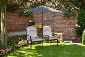 luxury grey love seat 2 seater garden bench with deep cushions and 2m parasol