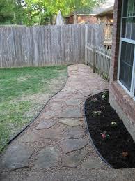 flagstone walkway in the backyard