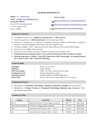 Resume Format For 1 Year Experienced Software Engineer Best Resume
