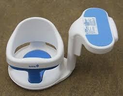 used safety first 1st tubside swivel baby bath tub seat chair ring bathtub white blue