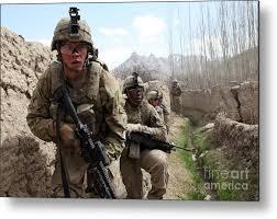 Us Army Platoon U S Army Platoon Moves In Behind Mud Metal Print