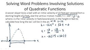 solving problems involving solutions of quadratic functions example 1